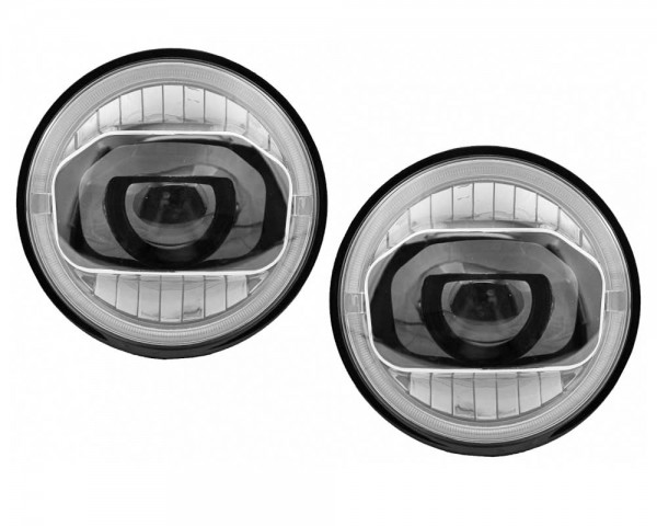 LED фарове 7 инча 45W  H4 дневна, къса, дълга светлина и мигач комплект