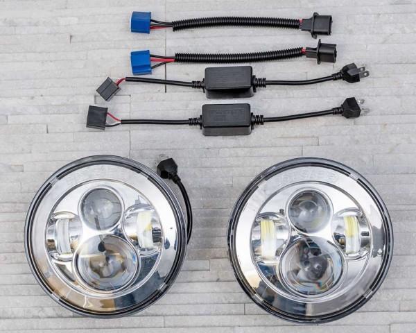 Хромирани LED фарове 7 инча 45W  H4 къса и дълга светлина комплект