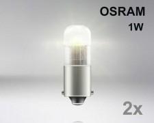 Крушка T4W BA9s LED OSRAM 1W 12V ТОПЛО БЯЛ комплект