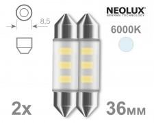 Крушка C5W LED 36мм NEOLUX 12V БЕЛИ комплект