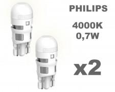Крушка W5W LED PHILIPS Ultinon 0,7W 12V БЯЛА 4000К комплект