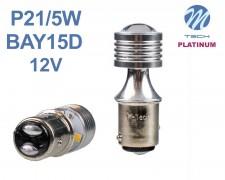 LED авто крушка  BA15d  P21W/5W БЯЛА 12V M-tech
