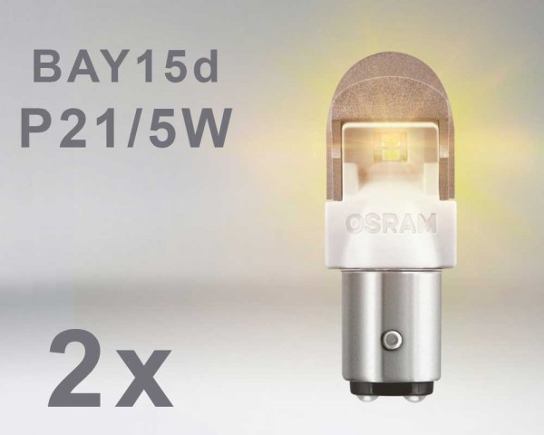 LED авто крушка  BAY15d  P21W/5W ОРАНЖ 12V OSRAM PREMIUM комплект