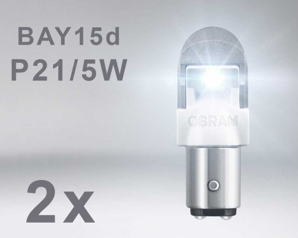 LED авто крушка  BAY15d  P21W/5W БЯЛА 12V OSRAM PREMIUM комплект