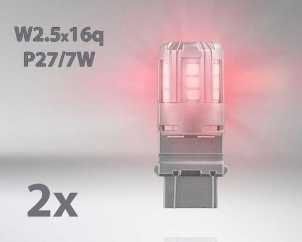 LED авто лампи комплект ЧЕРВЕНИ P27/7 12V 3W OSRAM STANDARD