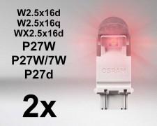 LED авто крушки ЧЕРВЕНИ W2.5x16q  P27/7W 12V OSRAM PREMIUM комплект