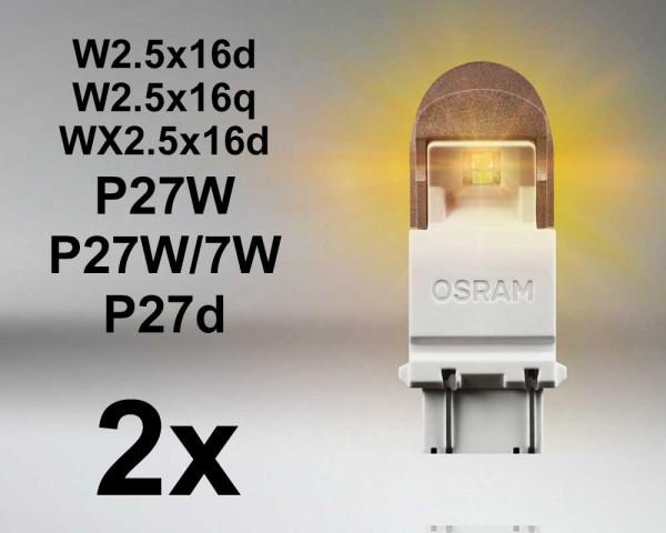 LED авто крушки ОРАНЖЕВИ W2.5x16q  P27/7W 12V OSRAM PREMIUM комплект