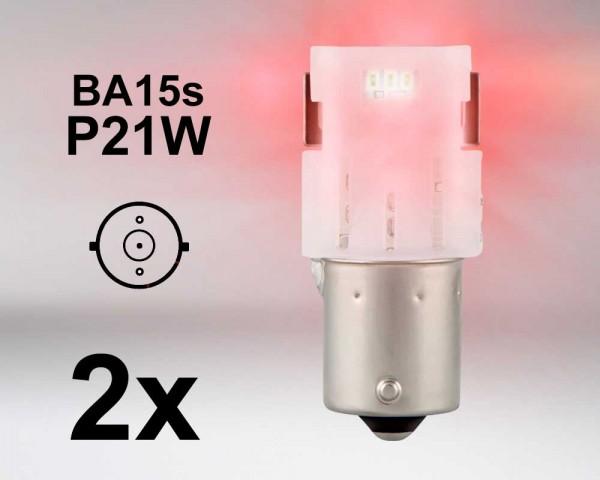 LED авто крушки BA15s P21W ЧЕРВЕНИ 12V OSRAM комплект