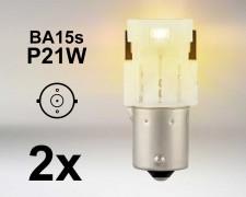 LED авто крушки BA15s P21W ОРАНЖЕВА 12V OSRAM комплект