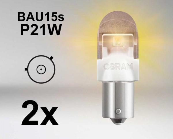 Крушка LED BAU15s / P21W ОРАНЖЕВА 12V OSRAM PREMIUM комплект