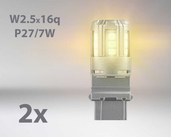 LED авто лампи комплект ОРАНЖЕВИ P27/7 12V 1W OSRAM STANDARD