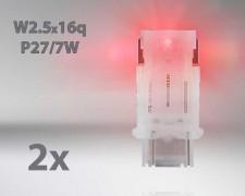 LED авто лампи комплект ЧЕРВЕНИ P27/7 12V 1.7W OSRAM STANDARD