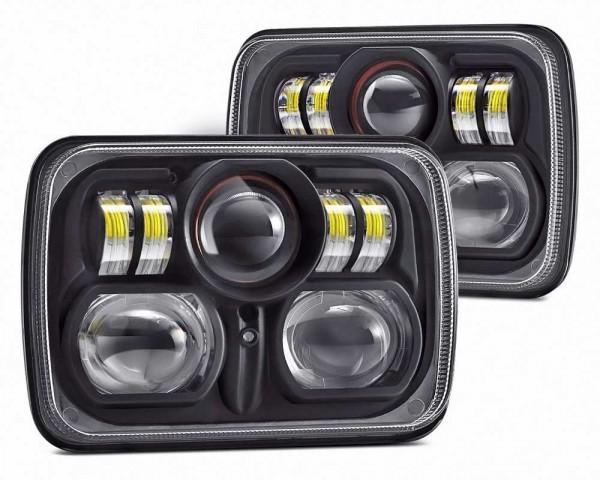 LED фарове 5х7 инча 45W  H4 къса и дълга светлина комплект