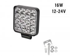 Универсален LED фар със стойка 16W квадрат насочен