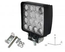 Работен LED фар със стойка 48W квадрат насочен