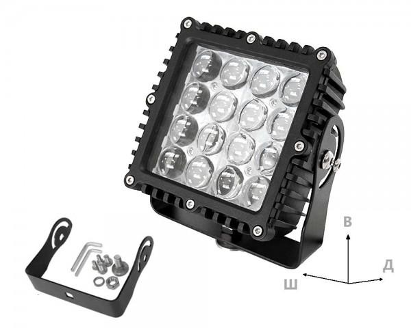 Работен LED фар със стойка 80W квадрат насочен