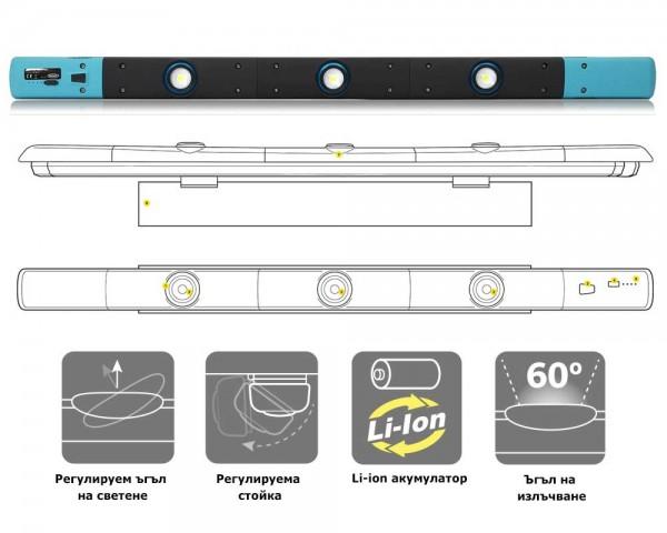 Акумулаторна работна лампа за подемник и канал